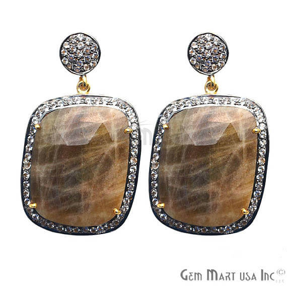Brown Sapphire With Cubic Zirconia Pave Diamond 25x43mm,Gold Vermeil Dangle Drop Stud Earring