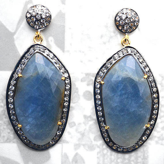Blue Sapphire With Cubic Zirconia Pave Diamond 51x22mm,Gold Vermeil Dangle Drop Stud Earring