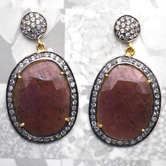 Red Sapphire With Cubic Zirconia Pave Diamond 44x24mm,Gold Vermeil Dangle Drop Stud Earring