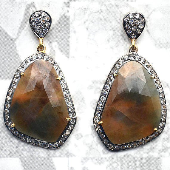Brown Sapphire With Cubic Zirconia Pave Diamond 24x44mm,Gold Vermeil Dangle Drop Stud Earring