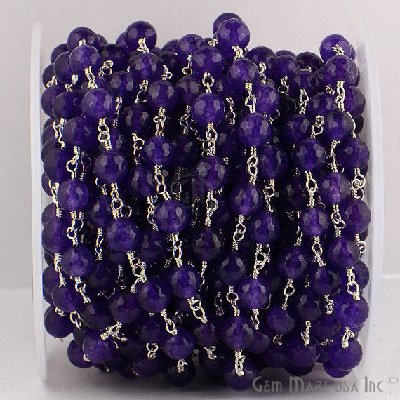 Amethyst Jade Beads Chain, Silver Plated wire wrapped Rosary Chain, Jewelry Making Supplies (SPAJ-30013)
