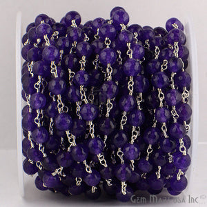 Amethyst Jade Beads Silver Plated Wire Wrapped Rosary Chain - GemMartUSA