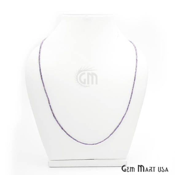 Amethyst Bead Chain, Silver Plated Jewelry Making Necklace Chain