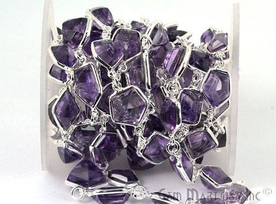 Amethyst Connector Chain, Silver Plated Bezel Continuous Connector Chain, Jewelry Making Supplies (SPAM-20005)