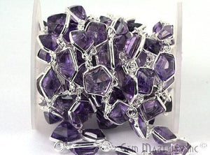 Amethyst 10mm Mix Faceted Shape Silver Plated Continuous Connector Chain