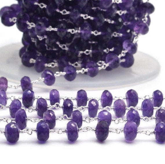 Amethyst Beads Chain, Silver Plated wire wrapped Rosary Chain, Jewelry Making Supplies (SPAM-30035)