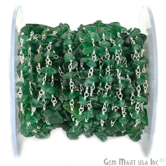 Aventurine Nugget Chip Beads Chain, Silver Plated wire wrapped Rosary Chain, Jewelry Making Supplies (SPAV-30025)