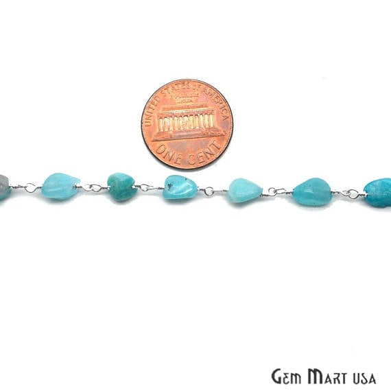 Amazonite Beads Chain, Silver Plated wire wrapped Rosary Chain, Jewelry Making Supplies (SPAZ-30044)