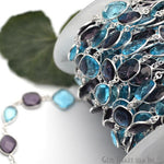 Blue Topaz With Amethyst Connector Chain, Silver Plated Bezel Continuous Connector Chain, Jewelry Making Supplies (SPBA-20005)