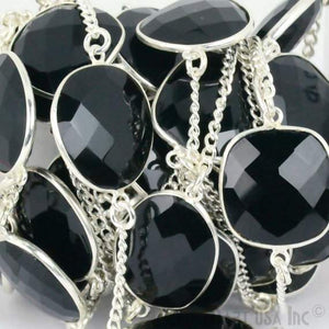 Black Onyx 15mm Silver Plated Bezel Link Connector Chain - GemMartUSA