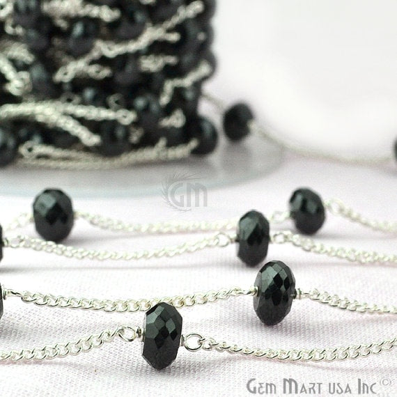Black Spinel Rondelle Beads Chain, Silver Plated wire wrapped Rosary Chain, Jewelry Making Supplies (SPBS-30076)