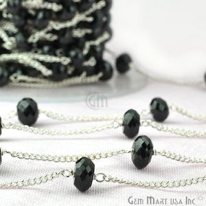 Black Spinel 7-8mm Silver Plated Rondelle Beads Rosary Chain - GemMartUSA