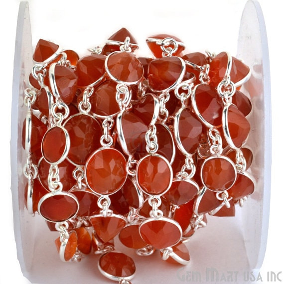 Carnelian Connector Chain, Silver Plated Bezel Continuous Connector Chain, Jewelry Making Supplies (Spcn-20005)