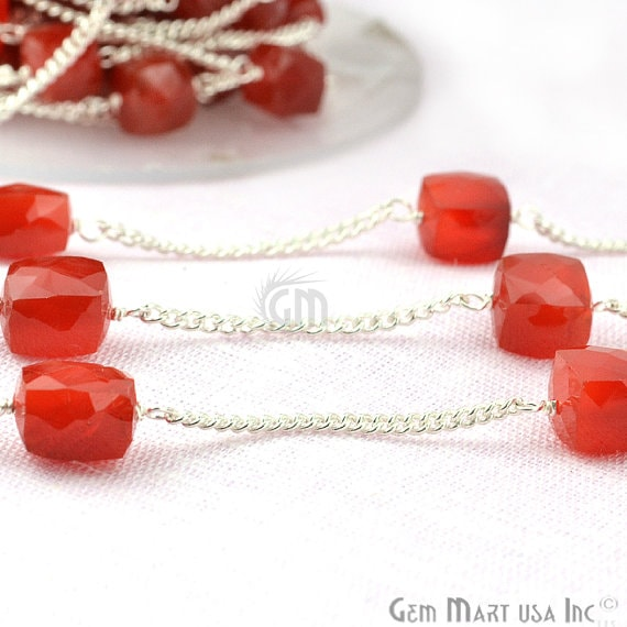 Carnelian Box Beads Chain, Silver Plated wire wrapped Rosary Chain, Jewelry Making Supplies (SPCN-30032)