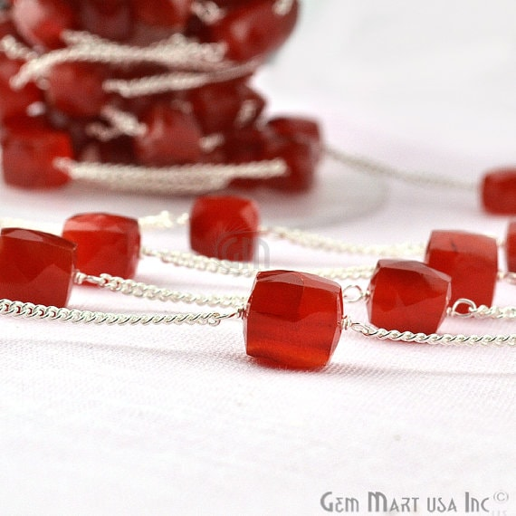 Carnelian Box Beads Chain, Silver Plated wire wrapped Rosary Chain, Jewelry Making Supplies (SPCN-30033)