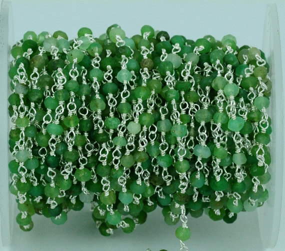 Chrysoprase Beads Chain, Silver Plated wire wrapped Rosary Chain, Jewelry Making Supplies (SPCP-30002)