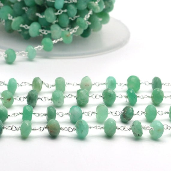 Chrysoprase Rondelle Beads Chain, Silver Plated wire wrapped Rosary Chain, Jewelry Making Supplies (SPCP-30035)