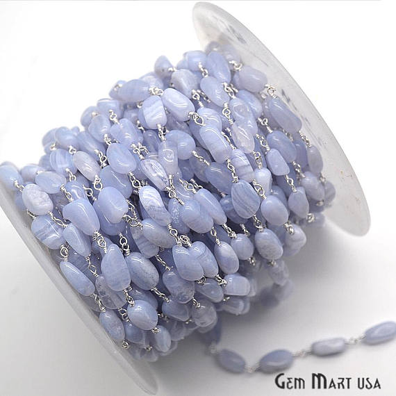 Blue Lace Agate Beads Chain, Silver Plated wire wrapped Rosary Chain, Jewelry Making Supplies (SPEL-30044)