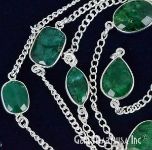 Emerald 10-15mm Silver Plated Link Bezel Connector Chain
