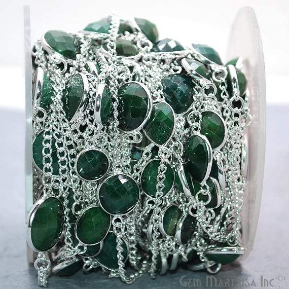 Emerald Connector Chain, Silver Plated Continuous Connector Bezel Chain, Jewelry Making Supplies (SPEM-20006)