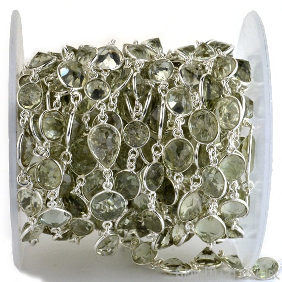 Green Amethyst continuous connector chain, Silver Plated Chain, Jewelry Making Supplies (SPGA-20005)