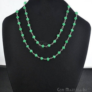 Natural Green Chalcedony Necklace chain, 18 Inch Silver Plated Beaded Finished Necklace - GemMartUSA