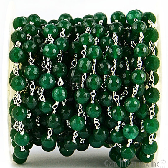 Green Jade Beads Chain, Silver Plated wire wrapped Rosary Chain, Jewelry Making Supplies (SPGJ-30013)