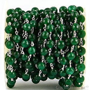 Green Jade Beads Silver Plated Wire Wrapped Rosary Chain