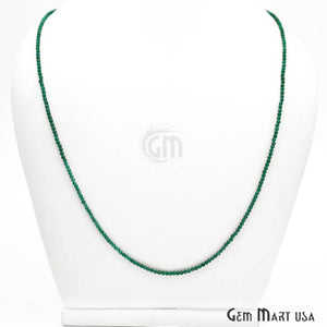Green Onyx Bead Chain, Silver Plated Jewelry Making Necklace Chain