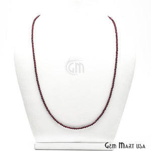 Garnet Bead Chain, Silver Plated Jewelry Making Necklace Chain