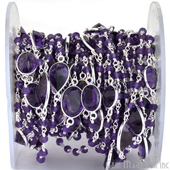 One Foot Beautiful Amethyst Rosary Connector Chain, Connectors measure about 10mm, Silver Plated (SPHA-20015)