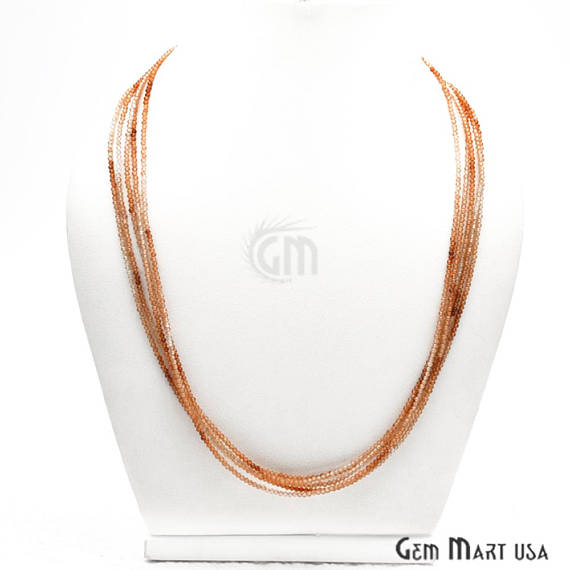 Hessonite Bead Chain, Silver Plated Jewelry Making Necklace Chain