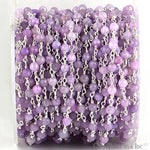 Light Lavender Jade Beads Chain, Silver Plated wire wrapped Rosary Chain, Jewelry Making Supplies (SPLA-30017)
