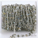 Labradorite Beads Chain, Silver Plated wire wrapped Rosary Chain, Jewelry Making Supplies (SPLB-30002)