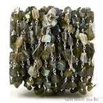 Labradorite Fancy Cut Beads, Silver Plated Wire Wrapped Rosary Chain, Jewelry Making Supplies (SPLB-30042)
