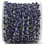Lapis Cluster Dangle Chain, Silver Plated wire wrapped Beads Rosary Chain, Jewelry Making Supplies (SPLP-30020)