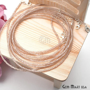 Peach Moonstone Bead Chain, Silver Plated Jewelry Making Necklace Chain