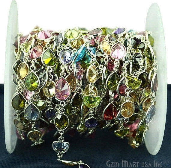Multi Color Druzy Connector Chain, Silver Plated Continuous Connector Chain, Jewelry Making Supplies (SPMU-20036)