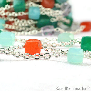 Multi Color Beads Chain, Silver Plated Wire Wrapped Rosary Chain - GemMartUSA