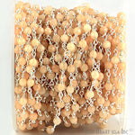 Light Caramel Jade Beads Chain, Silver Plated wire wrapped Rosary Chain, Jewelry Making Supplies (SPNJ-30017)