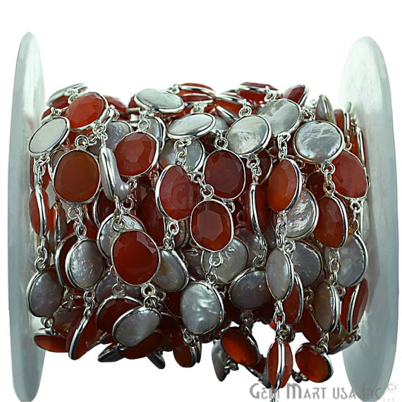 Carnelian with Pearl continuous connector chain, Silver Plated Chain Jewelry Making Supplies (SPNP-20005)