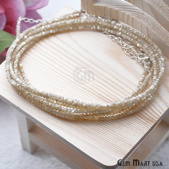 Mother Of Pearl Bead Chain, Silver Plated Jewelry Making Necklace Chain
