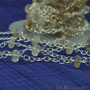 Golden Rutilated Beads Chain, Silver Plated Wire Wrapped Rosary Chain - GemMartUSA