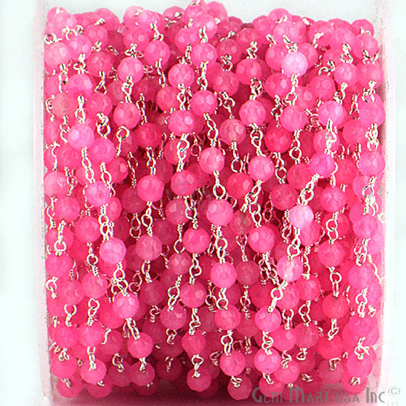 Baby Pink Jade Beads Chain, Silver Plated wire wrapped Rosary Chain, Jewelry Making Supplies (SPPJ-30017)