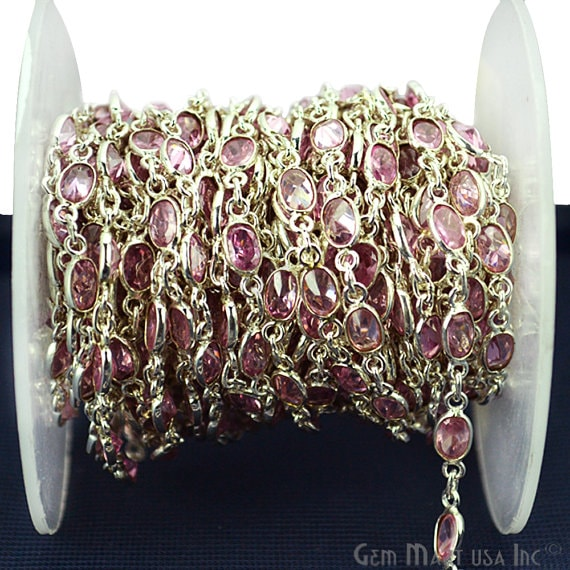 Pink Zircon continuous connector chain, Silver Plated Chain Jewelry Making Supplies (SPPK-20008)