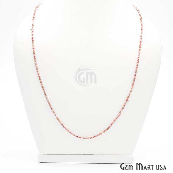 Pink Opal Bead Chain, Silver Plated Jewelry Making Necklace Chain
