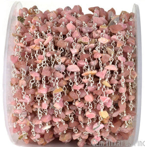 Pink Opal Freeform Beads Chain, Silver Plated wire wrapped Rosary Chain, Jewelry Making Supplies (SPPO-30025)