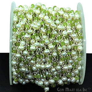 Peridot With Pearl Silver Plated Wire Wrapped Beads Rosary Chain