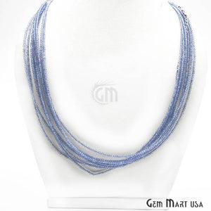 Blue Quartz Bead Chain, Silver Plated Jewelry Making Necklace Chain - GemMartUSA