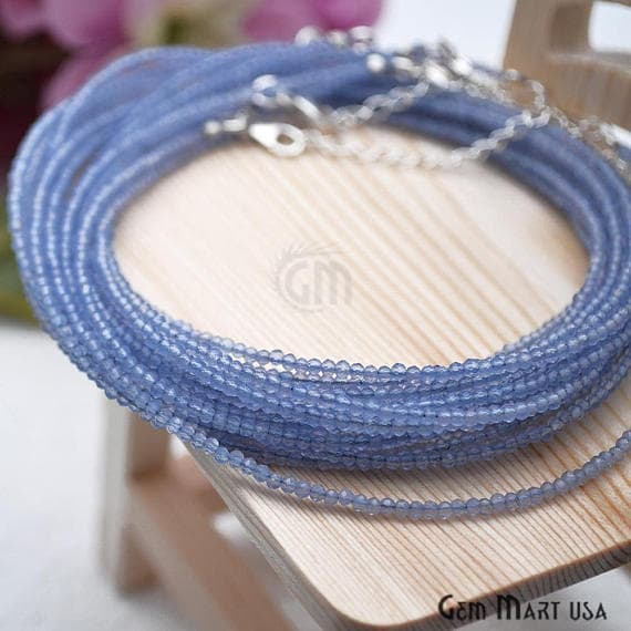 Blue Quartz Bead Chain, Silver Plated Jewelry Making Necklace Chain